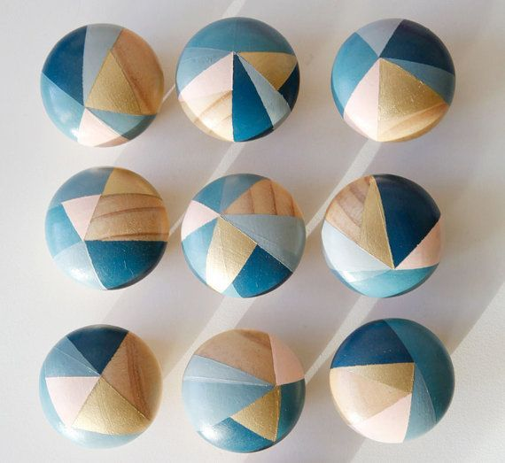 Hand painted colourful door knobs handles