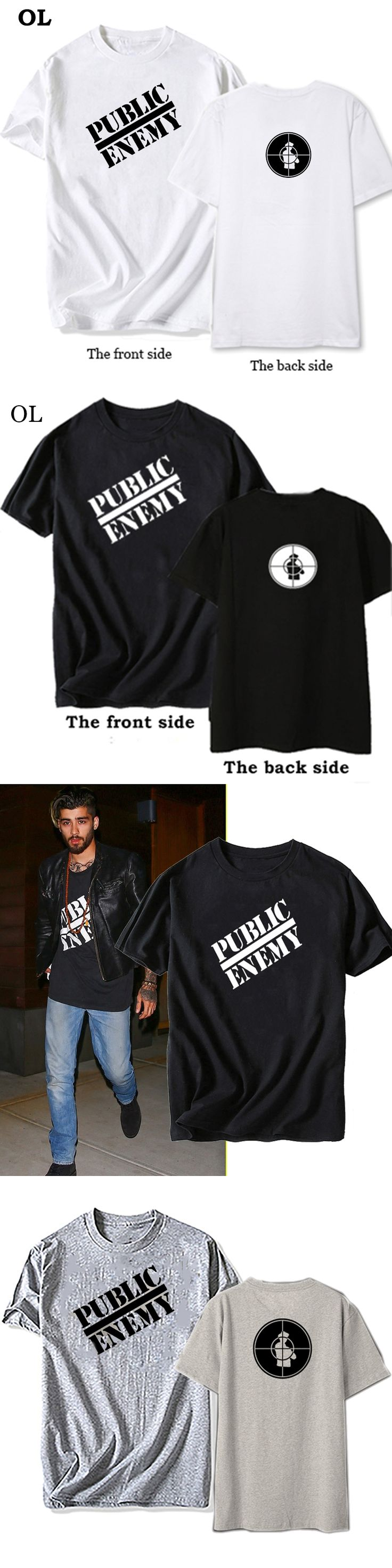 Zayn Malik Mens T Shirts clothing Public Enemy Clothes Men Cotton The Same Style T Shirt Men plus size