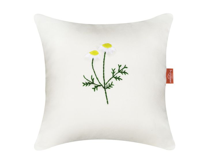 Chamomile pillow - hand embroidery and natural plant inside #pillow #nature #chamomile #calm #relaxing #sleep #sleepbetter #handembroidery #perfect #gift #home #cozy