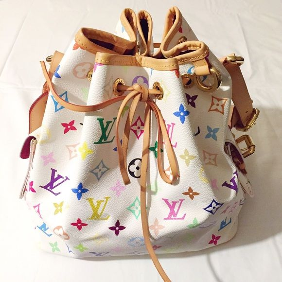 Louis Vuitton Multicolor Monogram petit noe  Authentic ! Used few time only, very good condition with clean interior. Minor marks on bottom leather part. You could tell from the shoulder strap that this bag is almost like new.  Bought it in France ! Dust bag included. Authentic code CA2057 stamped inside the interior pocket. Louis Vuitton Bags Shoulder Bags