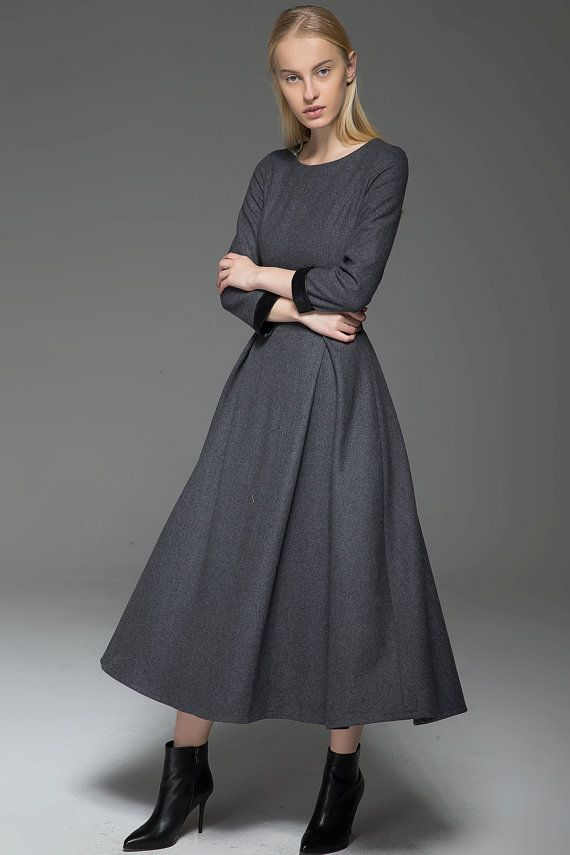 Gray Wool Dress - Classic Long Fitted Tailored Warm Winter Dress with Long Sleeves Round Neck & Black Leather Cuffs  C780