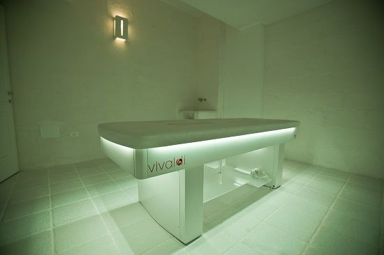 VIVALDI, the ISO Benessere vibro musical bed at the Timobianco SPA, Masseria Muzza