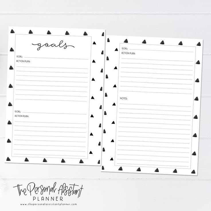 8.5x11 Goal Planning Printable Planner Insert Pages - The Personal Assistant Business Planner