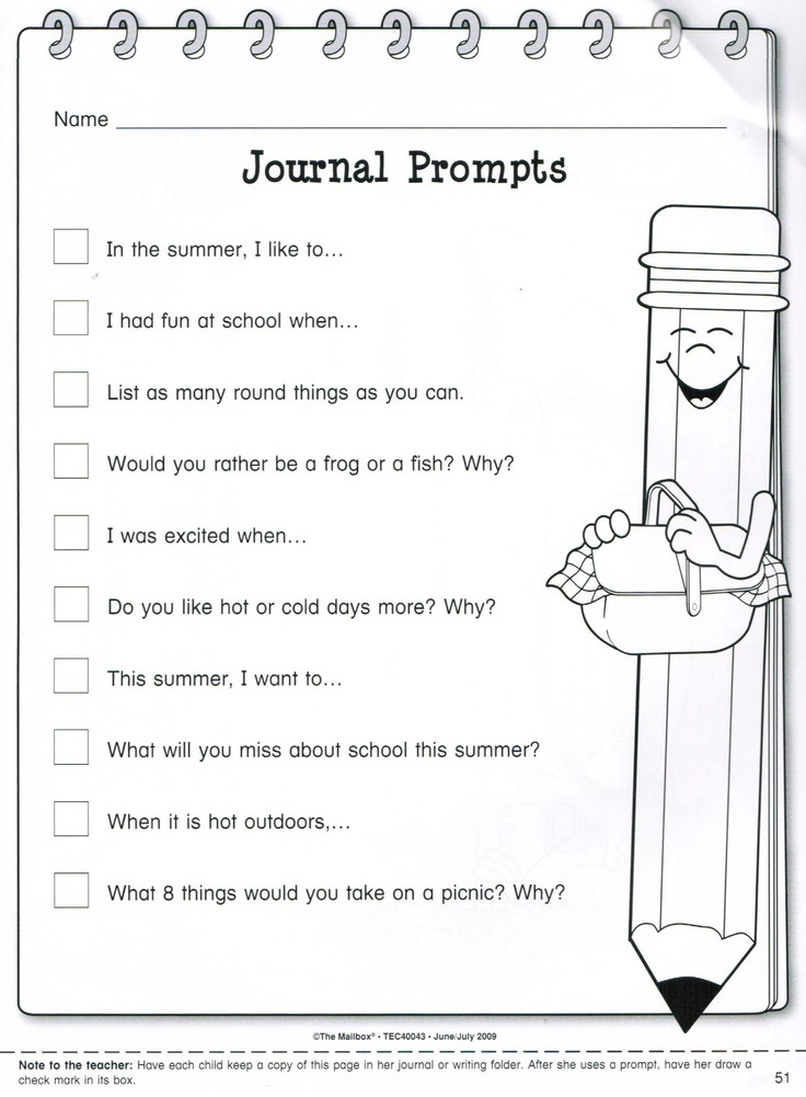 journal writing activities for kindergarten