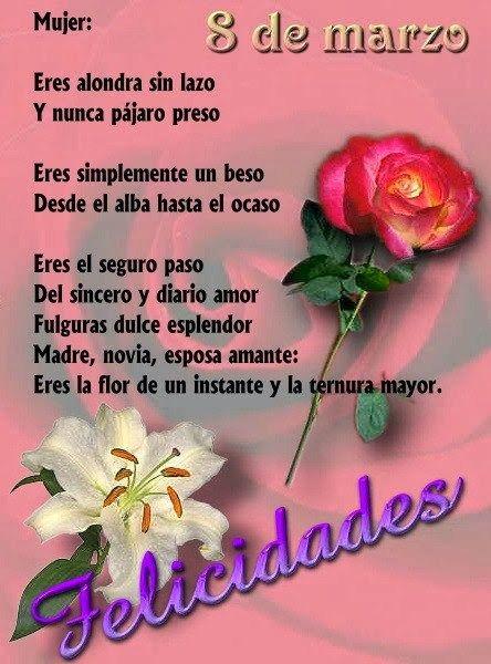 Imagen De Una Rosa Con Un Poema Para La Mujer Felicidades
