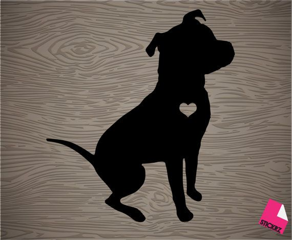 pit bull silhouette vinyl decal sticker free shipping by Stickrz