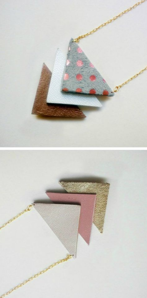 I'm big into wearable geometry as of late. Especially pieces that are photographed as art, like Chihiro's leather triangle necklaces. For her shop's grand opening, she's offering free shipping for all of March. Yay! {Images by Quolial}
