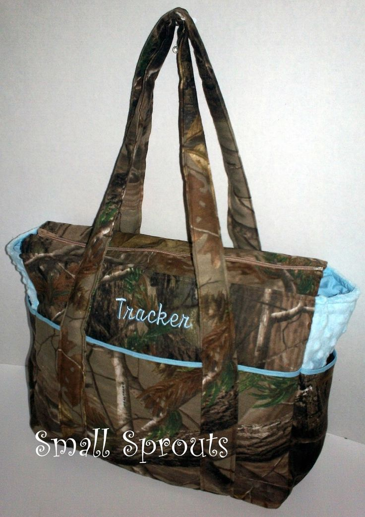 Diaper Bags | Small Sprouts: Real Tree AP Camo Light Blue Fancy Diaper Bag