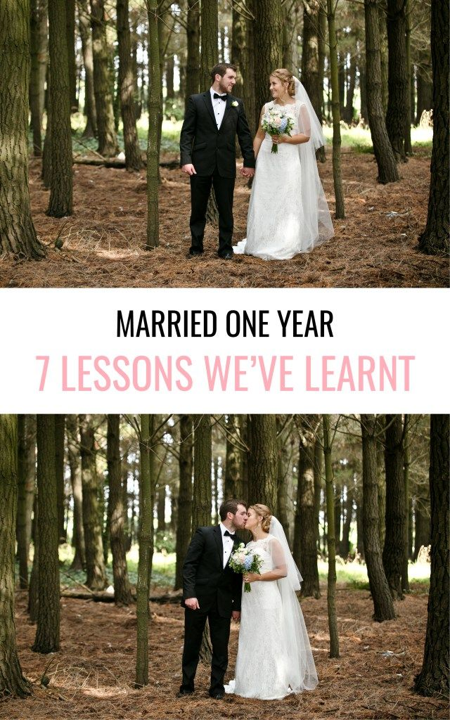 Marriage tips from a couple one year married. P.S. Looking for great wedding photo locations? Try a forest! This bride and groom loved it.