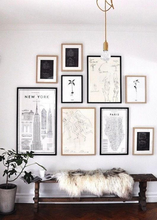 Travel-themed, black and white gallery wall (via Sacramento Street).