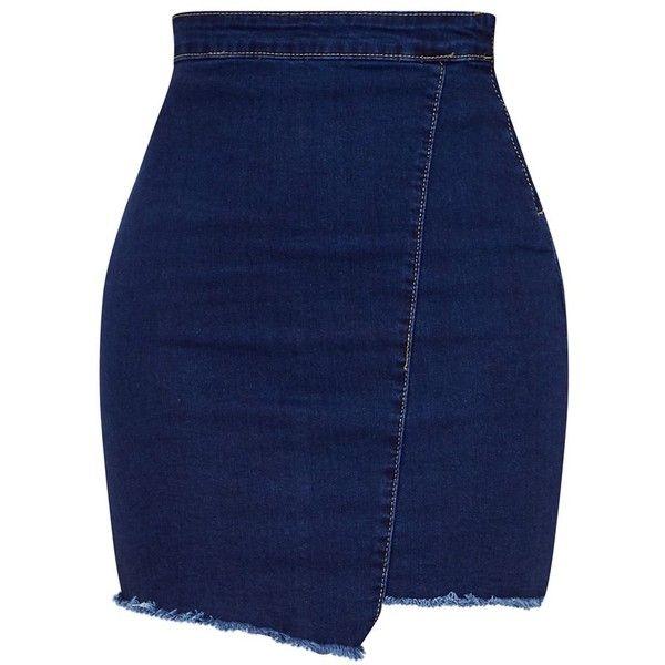 Indigo Frayed Hem Wrap Mini Skirt ($30) ❤ liked on Polyvore featuring skirts, mini skirts, blue skirt, wrap mini skirt, wrap skirt, blue mini skirt and short skirts