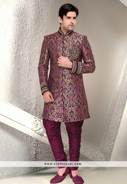 Image result for purple gold brocade sherwani