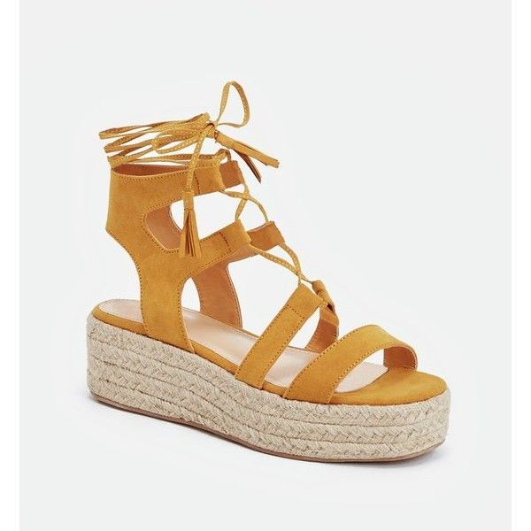 Justfab Wedges Amber (€38) ❤ liked on Polyvore featuring shoes, sandals, yellow, wedge espadrilles, wedge sandals, platform espadrille sandals, flatform wedge sandals and flatform sandals