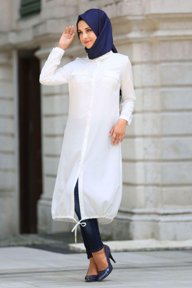 Neva Style - White Hijab Tunic 6230B