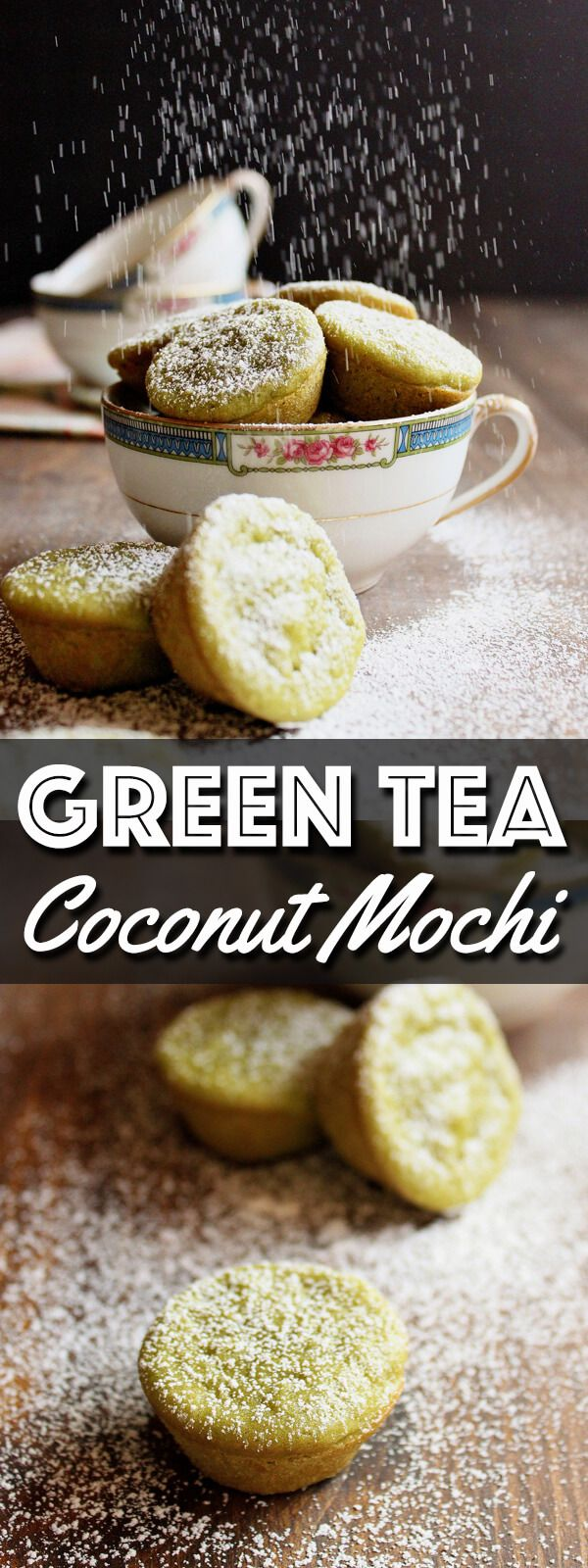 These Green Tea Coconut Mochi are chewy little treats made with coconut milk and sweet rice flour with a touch of delicate Matcha green tea powder. They are gluten free and the green color is completely natural! | wildwildwhisk.com #greentea #matcha #coconutmochi