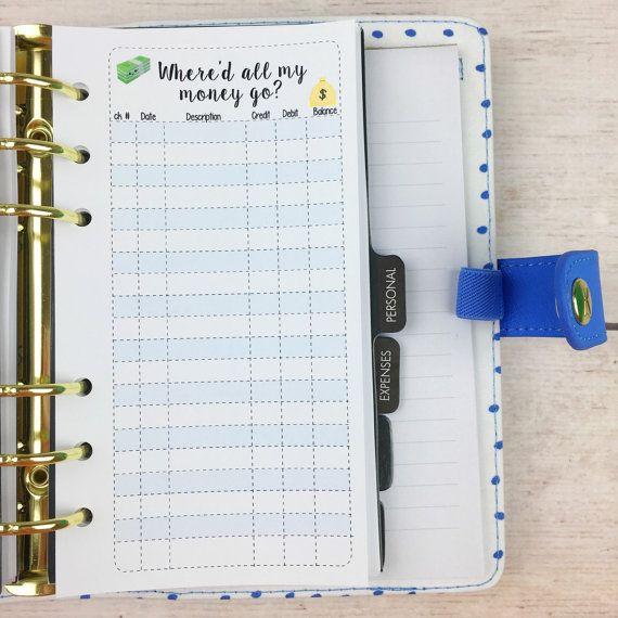 Planificateur de taille personnelle insérer - Registre de chéquier
