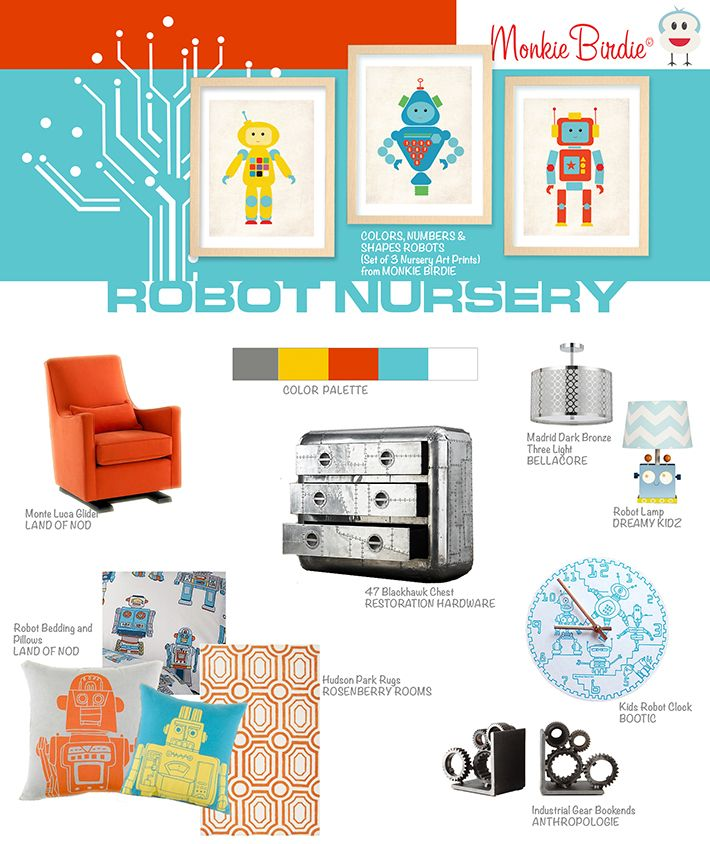Robot Nursery Decor Inspiration | MonkieBirdie This is adorable, maybe if we have another boy!