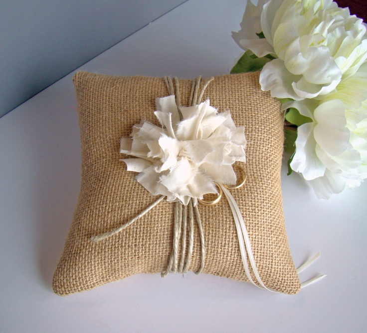 Rustic Burlap Wedding Ring Bearer Pillow, Burlap Wedding, Summer Wedding, Ring Pillow, Ring Bearer. $30.00, via Etsy.
