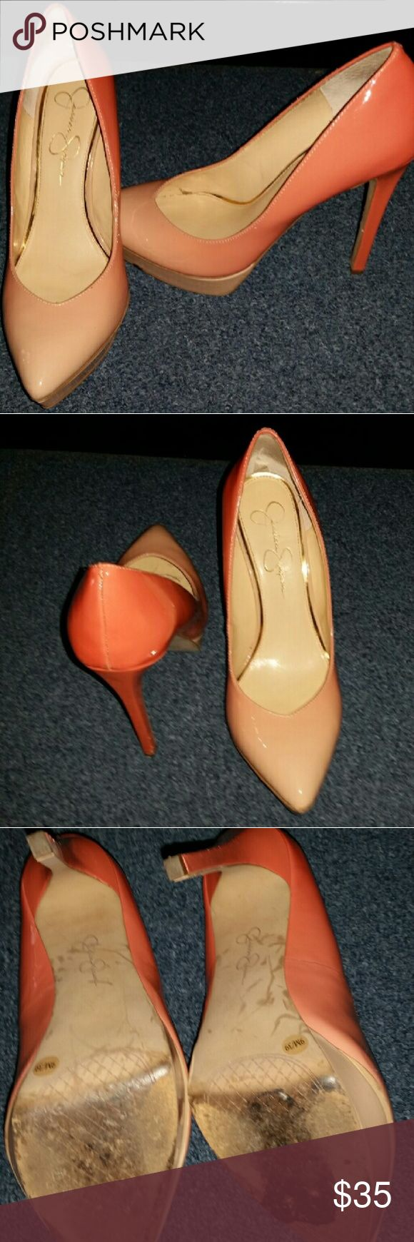 Jessica Simpson Ombre Peach Heels Beautiful ombre peach jessica simpson heels.   Worn a few times to work.   Great condition.   Great pop out color. jessica simpson  Shoes Heels