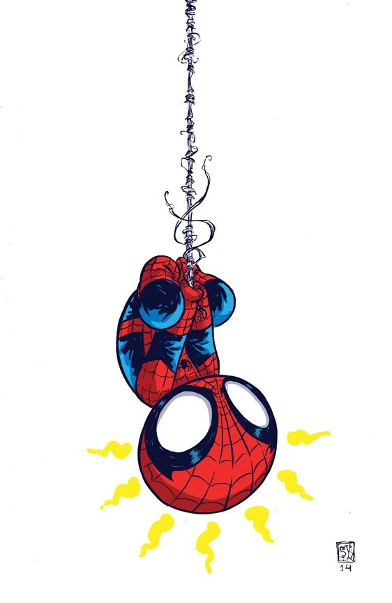 Amazing Spider-Man #1 Variant by Skottie Young. Totally makes think of my youngest son. Loves spidey...