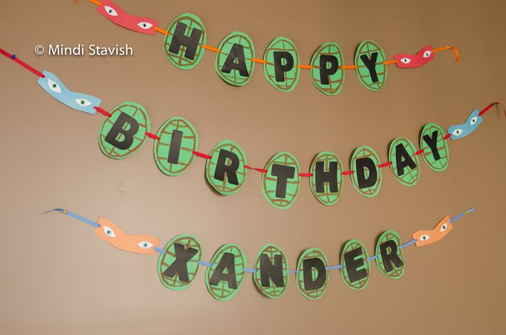 ninja turtle birthday party ideas | ... mutant ninja turtle party banner brought the room color and spunk
