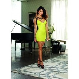 Sexy Lime Black V-Neckline Sleeveless Elastic Strappy Back Body Con Party Dress