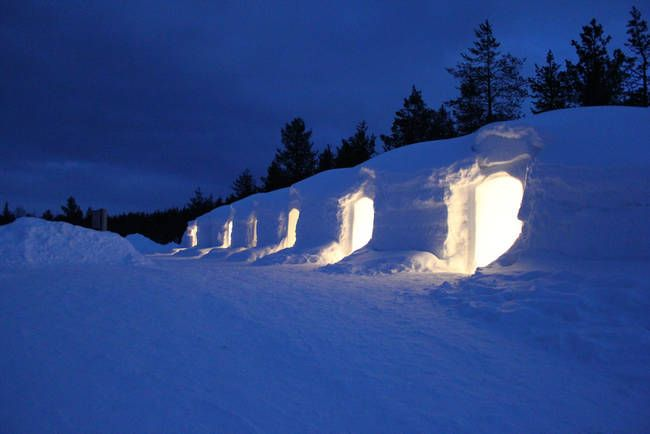 6.) This beautiful interconnected series of igloos is located in Finland. Imagine a whole neighborhood of these things!