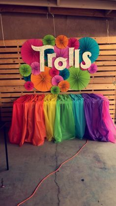 Trolls cake table birthday party