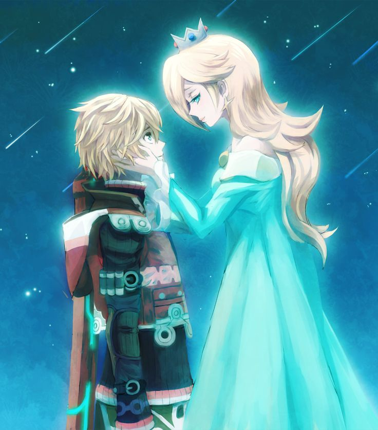 Shulk and Rosalina - Super Smash Bros via pixiv << hmm.. never thought of these two but I think it's cute :)