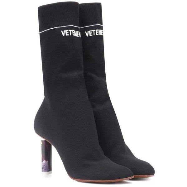 Vetements Lighter-Heel Sock Ankle Boots ($1,195) ❤ liked on Polyvore featuring shoes, boots, ankle booties, black, sock ankle boots, black boots, black ankle booties, vetements boots and black booties