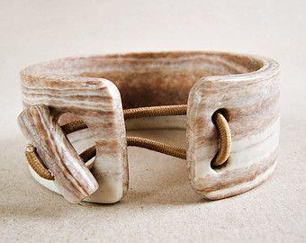 Cuff bangle faux wood polymer clay, bangle bracelet, wood imitation, light wood
