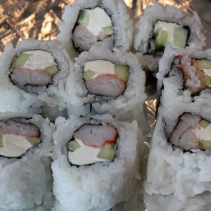 American Sushi Roll: Crab stick with Cucumber and Cream Cheese Sushi Roll