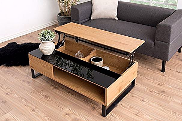 Table Basse Plateau Relevable Azalea Noir Et Chene Tables Basses But In 2020 Coffee Table Furniture Table