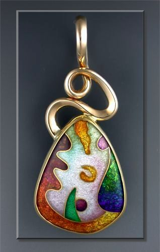 "Sharon Scalise ""Universal Dreams In Flux ""  pendant, cloisonne enamel  24, 22 & 14 kt. gold; 999 & 925 Silver"