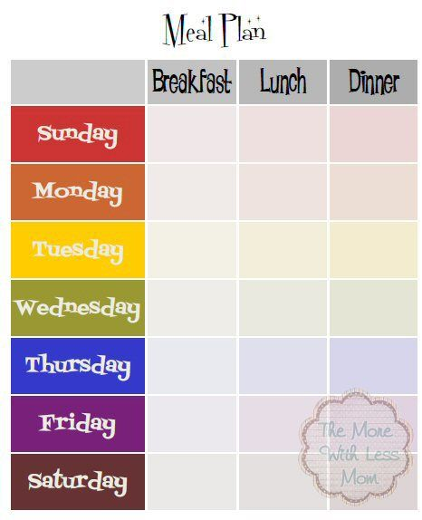 Weekly meal plan template with breakfast lunch dinner for Free school lunch menu templates