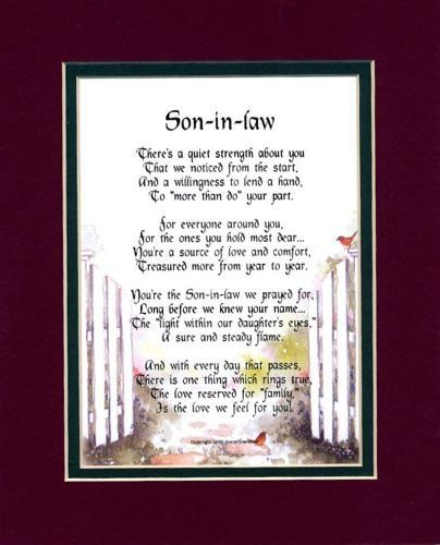 """Son-In-Law"" Touching 8x10 Poem, Double-matted In Burgundy"