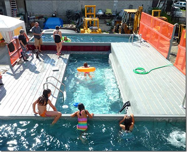Shipping Container Swimming Pool How about this instead of the spa at the cabin.