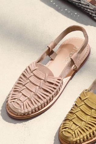Blush Suede Woven Slingback Sandals
