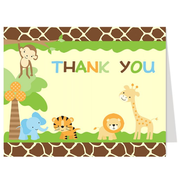 Thank guests for attending your boy baby shower with this jungle safari themed thank you card featuring jungle animals including a Lion, Tiger, Elephant, Monkey and Giraffe. White envelopes included.