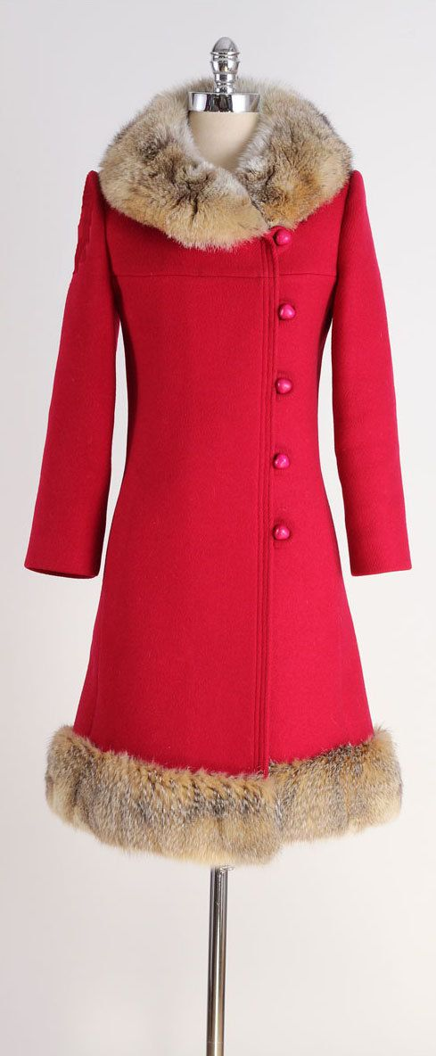 vintage 1960s coat . red wool . coyote fur . by millstreetvintage