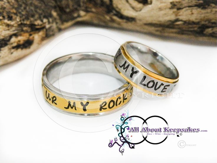 Keepsake Rings (stainless steel) hand stamped with a message to celebrate wedding anniversery  allaboutkeepsakes.com