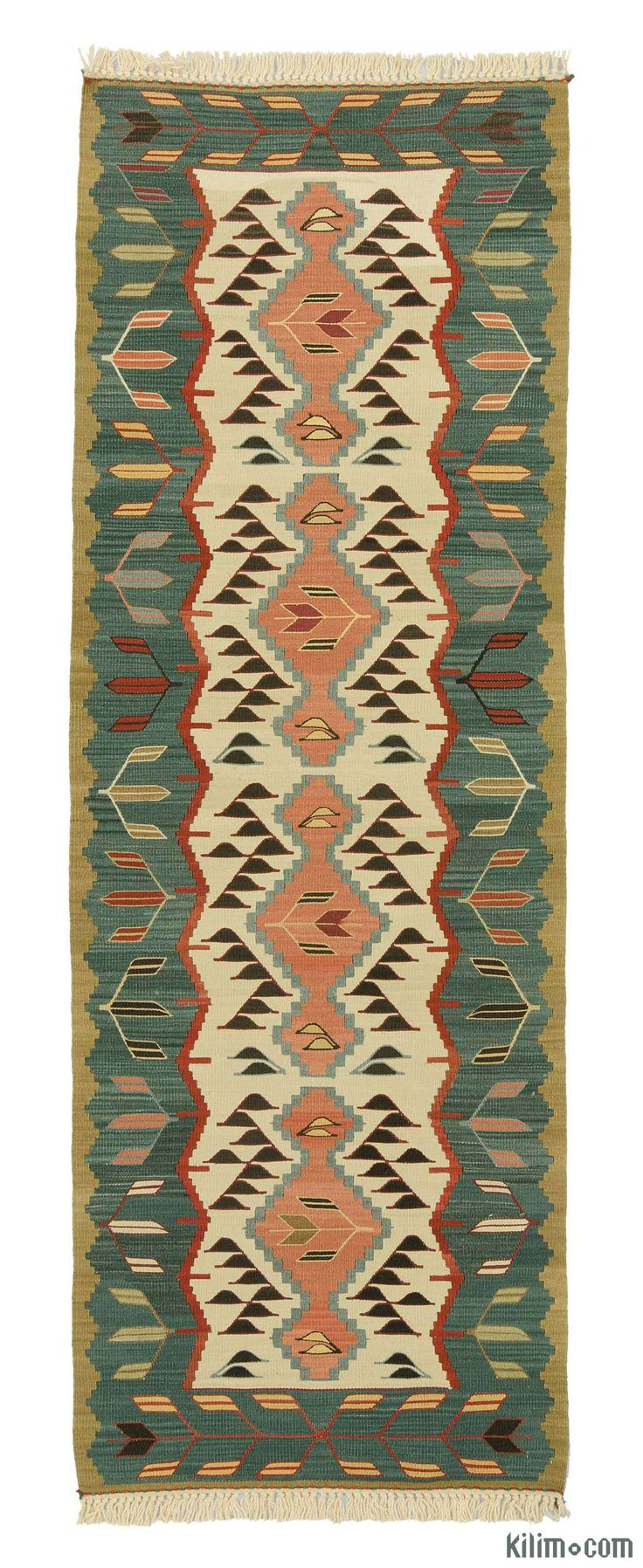 New Turkish kilim runner rug hand-woven with vegetable-dyed and hand-spun wool. The fringes can be removed upon request. If you like the design of this rug, we can custom make it to meet your color and size requirements.