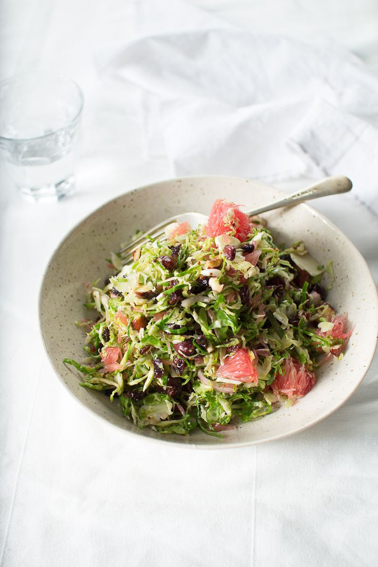 shaved brussel sprout slaw with pink grapefruit and a maple cider vinaigrette