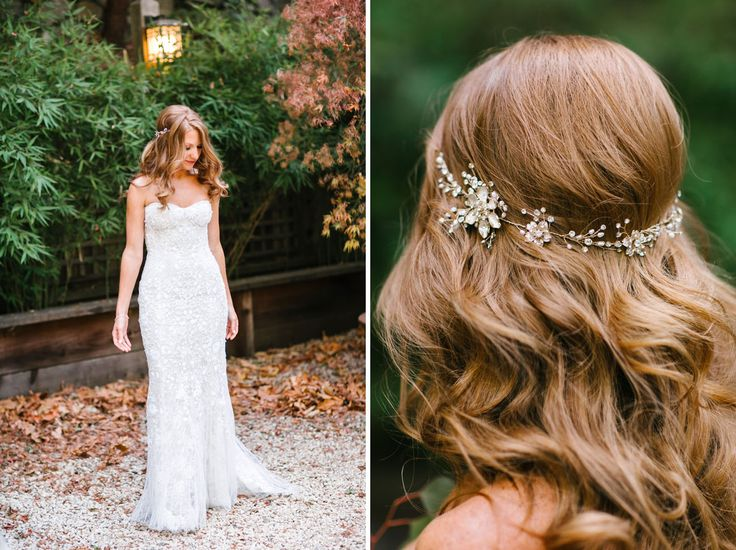 Monique Lhuillier Wedding Dress with halo