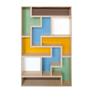 Wall shelves for books with many multicolor books