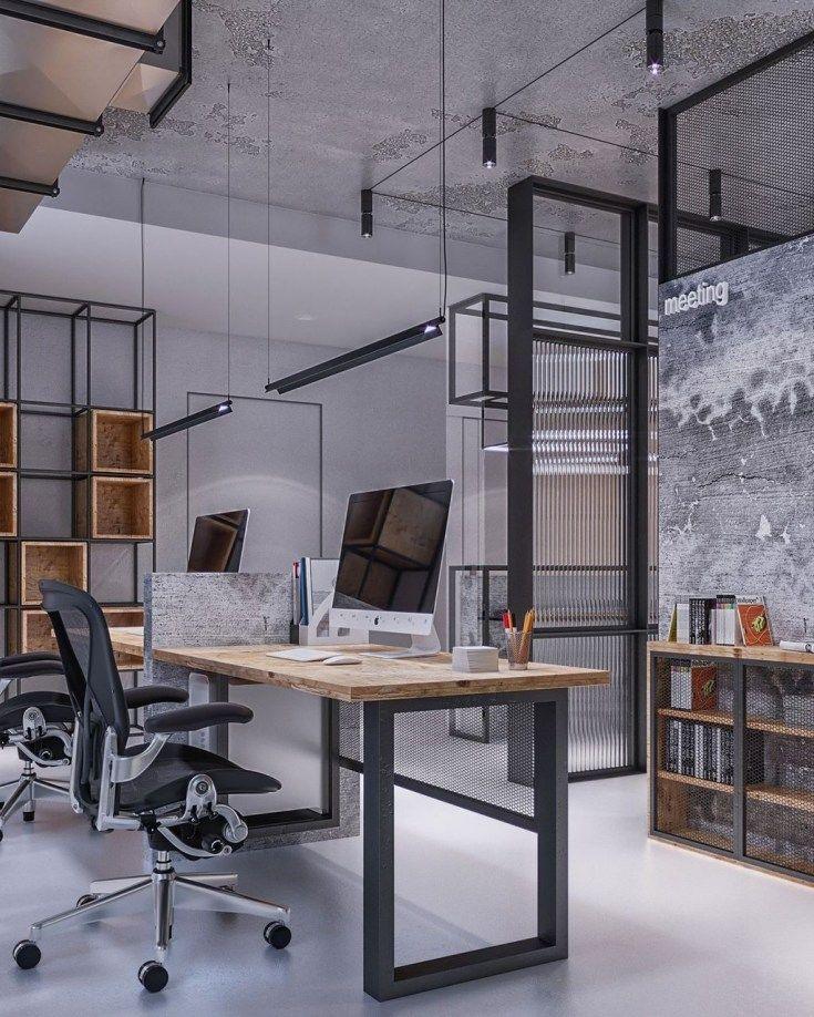30 Brilliant Industrial Office Design Ideas Industrial Office Design Office Interior Design Home Office Design