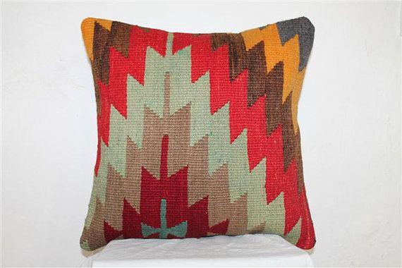 Kilim Pillow Anatolian Wool Pillows Throw pillow by SeCLara