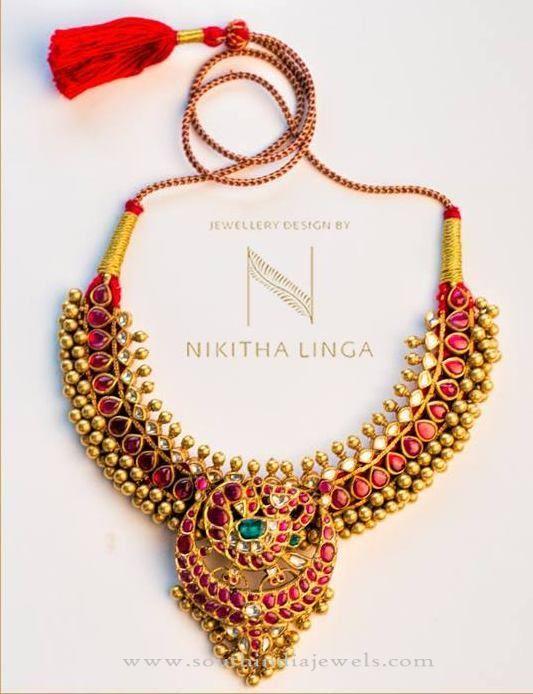 Gold Antique Hyderabad Necklace Designs, Hyderabad Gold Necklace Designs, Antique Gold Necklace from Hyderabad