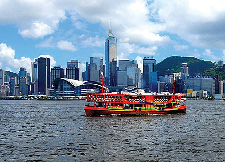Ferry in the Hong Kong harbor