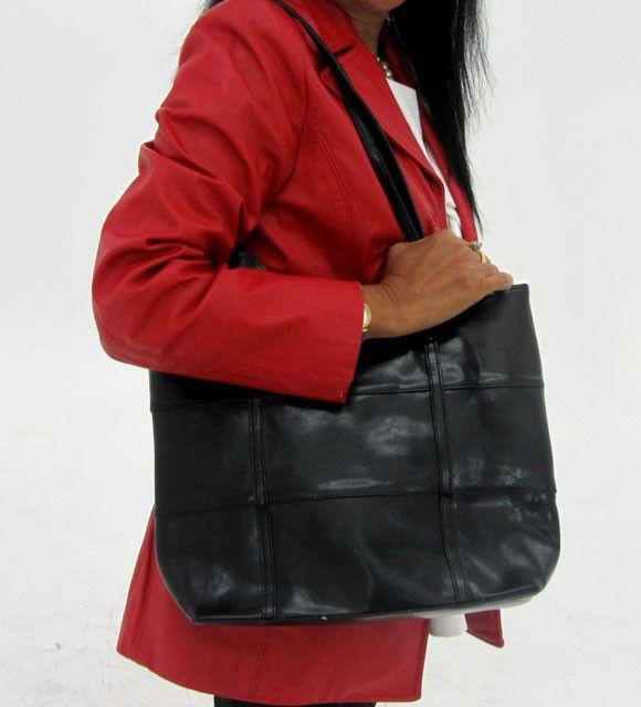 Leather Like Black Shoulder Bag OP 48